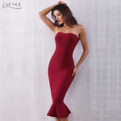 Adyce Summer Women Bandage Dress Vestidos Verano 2019 Sexy Sleeveless Strapless Club Dress Elegant Celebrity Party Runway Dress