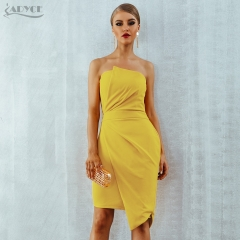 Adyce Yellow Party Runway Dress Women Summer Vestidos Verano 2019 Sleeveless Strapless Elegant Side Zipper Celebrity Club Dress
