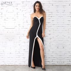 Adyce New Fashion Women Winter Strapless Black&White Long Dress Vestidos Celebrity Evening Party Dress Gown Maxi Dresses