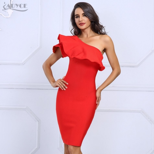 Adyce Sexy Summer Dress Women Clubwear Red Black One Shoulder Ruffles Bodycon Dress Vestidos Celebrity Party Dresses
