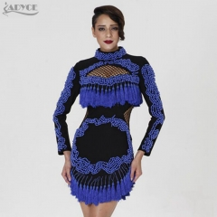 Adyce new high quality fashion women dressed hollow-out tassel beading luxurious manual brand runway evening party dress
