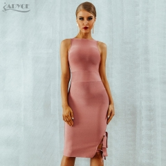 Adyce 2019 New Summer Women Bandage Dress O-Neck Vestidos Hollow Out One Side Bow Club Tank Pink Celebrity Evening Party Dresses
