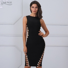 Adyce Summer Women Bandage Dress Sexy Wine Red Pink Cut Out Button Bodycon Mini Vestidos Evening Party Dresses Clubwear