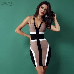 ADYCE 2019 Women Bandage Dress Celebrity Party Club Dress Sexy Spaghetti Strap V-Neck Backless Sleeveless Bodycon Dress Vestidos