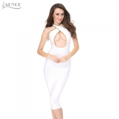 Adyce New Women Summer Dress Chain Cross Hollow Out White Nude Black Celebrity Party Dresses Bandage Dress Wholesale Dropshipping