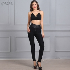 ADYCE hot sale sexy women black PU patchwork Leggings Jacquard Bandage pencil Pants Club Party wear evening wear wholesale