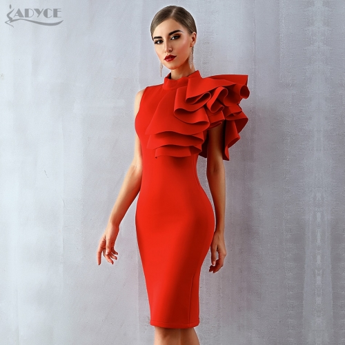 Adyce 2019 New Summer Women Celebrity Party Dress Vestidos Sexy White Red Sleeveless Ruffles Bodycon Midi Bodycon Club Dresses