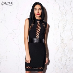 Adyce New Summer Runway Dress women Black Bodycon Hollow Out tied Sleeveless PU patchwork Party Dress Celebrity Bandage Dress