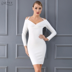 Adyce New Arrival Bandage Dress Chic White Black Halter Long Sleeve Sexy Women Celebrity Evening Party Dress Wholesale