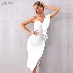 ADYCE 2019 New Summer Women Bandage Dress Sexy One Shoulder Ruffles Bodycon Club Dresses Vestidos Celebrity Evening Party Dress