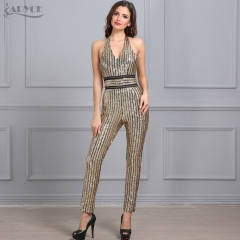 Adyce New Summer Rompers Bodysuit Women Golden V Neck Sleeveless Sequins Celebrity party Long Jumpsuit Macacao Feminino