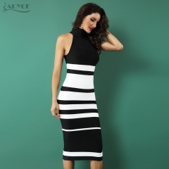 ADYCE 2019 New Elegant Bandage Dress Women Fashion Nude and White Striped Bodycon Midi Dress Vestidos Night Club Party Dresses