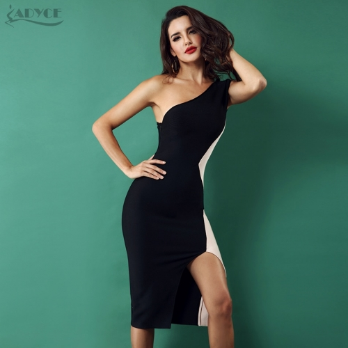 Adyce Women New Bandage Dress One Shoulder Sleeveless Side Split Dress Celebrity Evening Party Dresses Vestidos de festa