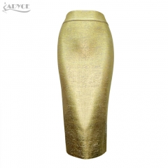 Adyce New Summer Sexy Women Chic Pencil Skirts Golden Silver Knee-length Elegant Celebrity Party Prom Bodycon Bandage Skirts