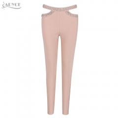 Adyce New Summer Women Pencil Pants Black Apricot Diamonds Studded Hollow Out Trousers Celebrity Party Luxury Bandage Pants