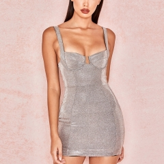 Adyce 2019 New Summer Women Bodycon Bandage Dress Sexy Silver Spaghetti Strap V Neck Club Dresses Celebrity Evening Party Dress