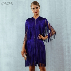 Adyce 2019 New Summer Bandage Dress Women Elegant Club Party Dress Sexy O Neck Sleeveless Tassels Mini Fringe Tank Dress Vestido