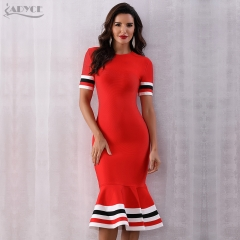Adyce 2019 New Summer Red Bandage Dress Women Sexy Short Sleeve Mermaid Club Dress Vestido Runway Celebrity Evening Party Dress
