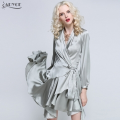 Adyce New Fashion Summer Women Runway Dress Gray Pink Orange V Neck Asymmetrical Mini Dress Evening Party Dresses Vestidos