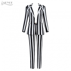 Adyce New Winter Woman Sets Black&White Long Sleeve Coat&Pants 2 Two Pieces Sets Deep V Striped Celebrity Party Women Sets