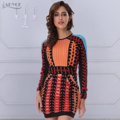 ADYCE Summer Bandage Dress O neck Black Blue Long Sleeve Orange Lace Up Mesh Runway Dress Women Celebrity Party Dresses