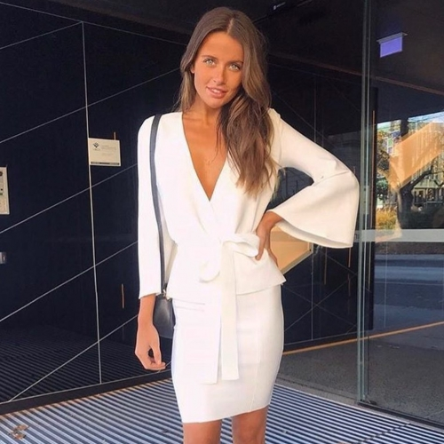 Adyce Celebrity Party Bandage Dress Women New Summer Sexy White Bodycon Long Sleeve Deep V-Neck 2 Two Pieces Sets Vestidos