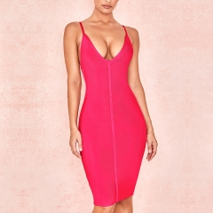 Adyce 2019 New Bodycon Summer Bandage Dress Women Sexy Rose Red Spaghetti Strap Vestidos Midi Club Celebrity Evening Party Dress