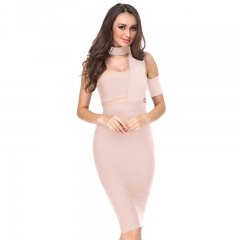 2019 New Summer Dress Women Black Bodycon Party Dresses White Apricot Cut Out one-shoulder Sexy Celebrity Runway Bandage Dress