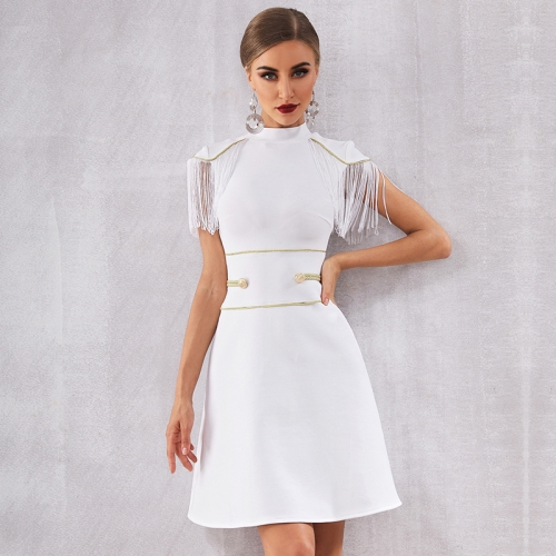 Adyce 2019 New Summer Women Bandage Dress Sexy White Short Sleeve Tassel Mini Club Dress Vestidos Elegant Celebrity Party Dress