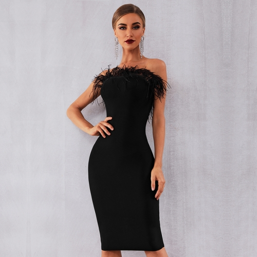 Adyce 2019 New Summer Women Bandage Dress Vestidos Sexy Black Feathers Sleeveless Strapless Bodycon Club Celebrity Party Dress