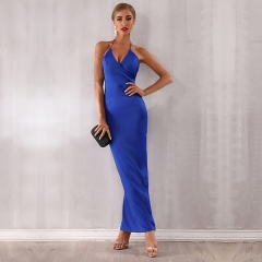 Adyce Summer Maxi Celebrity Evening Party Dress Vestidos Verano New Halter Sexy V Neck Backless Blue White Club Girl Dress 4136