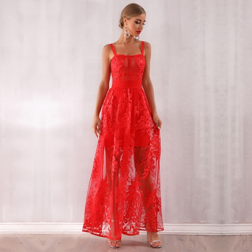 Adyce Summer Women Bandage Dress 2019 New Arrivals Red Lace Sleeveless Spaghetti Strap Maxi Dress Celebrity Party Dress Vestidos
