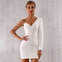 ADYCE 2019 New Summer Women One Shoulder Celebrity Evening Party Dress Sexy White Long Sleeve Runway Bodycon Club Dress Vestidos