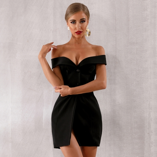 Adyce 2019 New Summer Women Off Shoulder Bodycon Club Dress Vestidos Elegant Black Slash Neck Celebrity Runway Party Dress