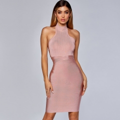 Adyce 2019 New Summer Women Bodycon Bandage Dress Vestido Elegant Pink Sexy Hollow Out Backless Club Dress Celebrity Party Dress