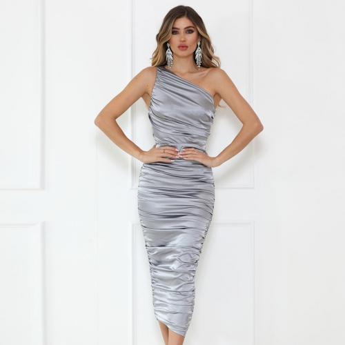 Adyce 2019 New Summer Women One Shoulder Celebrity Evening Party Dress Vestidos Sexy Silver Sleeveless Maxi Bodycon Club Dresses