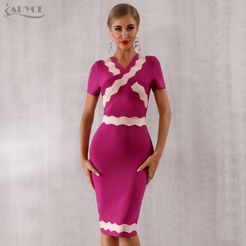 LAdyce 2019 New Summer Violet Bandage Dress Women Sexy Short Sleeve Club Dress Vestidos Midi Runway Celebrity Evening Party Dress