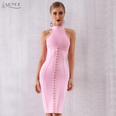 ADYCE 2019 New Summer Women Bandage Dress Sexy Sleeveless Pink Tank Bodycon Club Dress Hot Celebrity Evening Party Dress Vestido