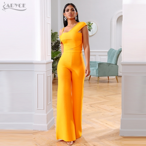 2020 New Summer Orange Two Pieces Sets Sexy Spaghetti Strap Short Sleeve Top& Long Pants Women Fashion Club Party Sets