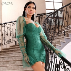 2020 New Summer Green Lace Bandage Dress Women Sexy Hollow Out Bodycon Club Celebrity Evening Runway Party Dress Vestidos