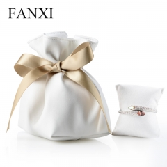 FANXI Custom Logo Soft PU Bag With Gold Ribbon And Suede Pil...