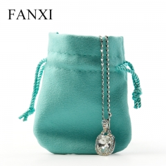 FANXI Custom Logo Jewelry Pouches For Ring Necklace Bangle Bracelet Packing Double-face Blue Microfiber Pouch Bag
