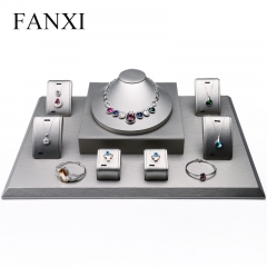 FANXI OEM Custom Logo Wooden Jewellery Showcase Set For Ring...
