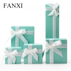 FANXI Custom Green Fancy Leatherette Paper Jewelry Boxes Wit...