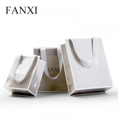 FANXI Custom Printing Paper Shopping Bags For Jewelry Cosmetic Watch Cloth Packaging Glossy Finish Gray Paper Gift Bag