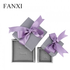 FANXI Gray PU Leather Jewellery Box With Velvet Insert And P...