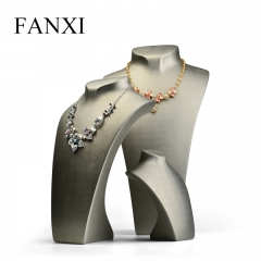 FANXI Luxury Gray PU Leather Necklace Mannequin For Jewelry ...