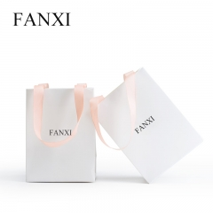 FANXI Custom Logo Shopping Bags With Pink Ribbon For Jewelry...