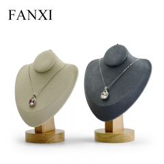 FANXI Custom Solid Wood Jewelry Display With Beige And Gray ...