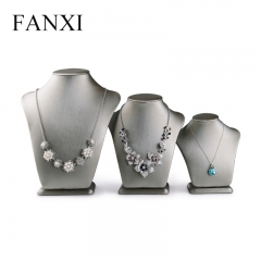 FANXI Custom Beige And Gray Metallic Leather Necklace jewelr...